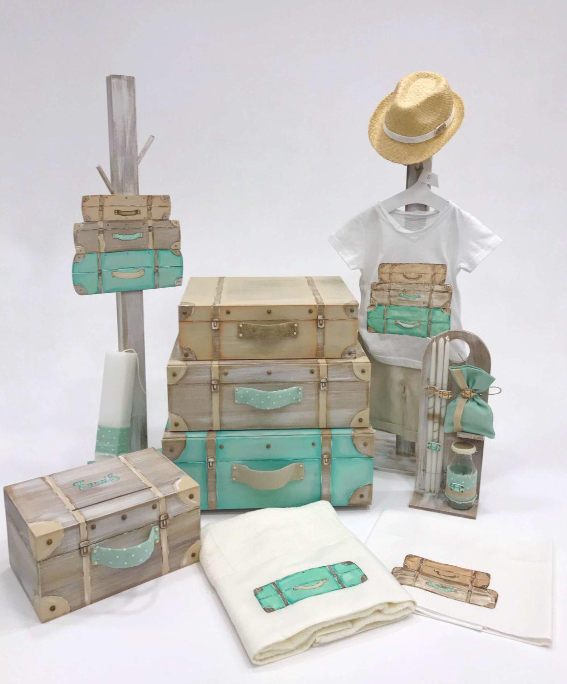 Σετ Βάπτισης Travel Suitcases για αγόρι βαπτιστικά αγοράκια κουτιά   βαλίτσες   λαμπάδες