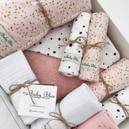 Pregnancy Box Salmon Leaves & White Stars Baby Blue Collection